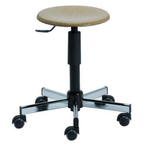 TAVEL-assise-bois-H1-H2-carrée-500x500 Tabouret TAVEL vérin noir et piètement acier chromé