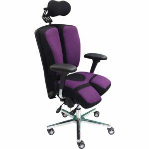 Le fauteuil ergonomique PERINEOS 7 innovation KHOL avec deux appui-jambes dans la continuité de l'assise, réglables et s'ajustant séparement pour votre bien être au travail