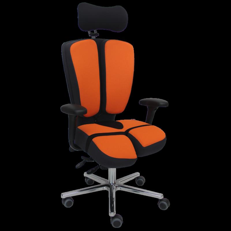PERINEOS-10-tissu-gris-et-orange-IMG_2619-recadrée-carrée-800x800 PERINEOS 10 avec 2 appui-jambes dans la continuité de l'assise et dossier avec libération de la colonne vertébrale