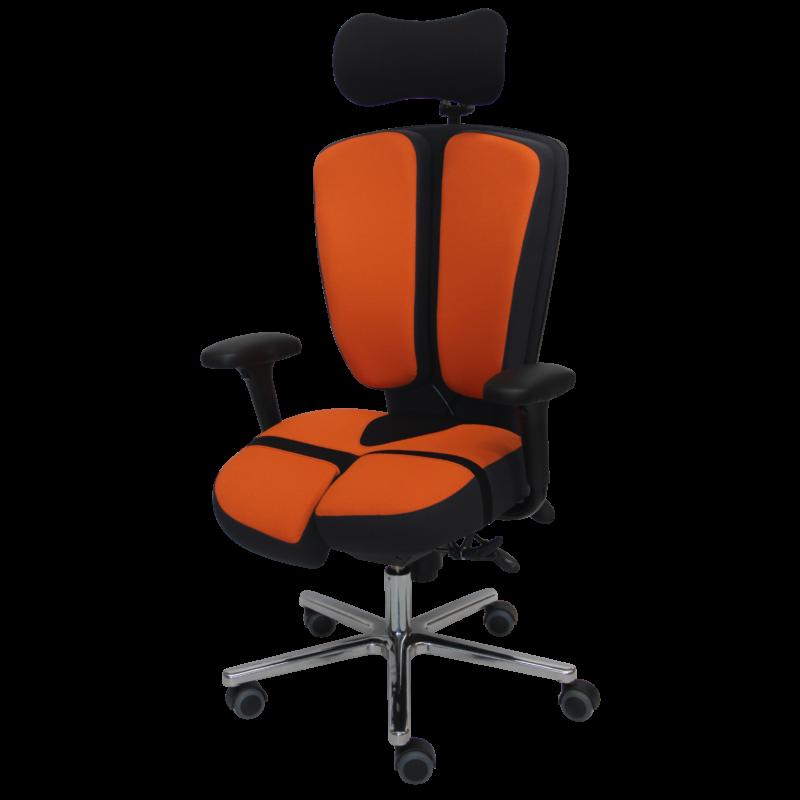 PERINEOS-10-tissu-gris-et-orange-IMG_2622-recadrée-carrée-800x800 PERINEOS 10 avec 2 appui-jambes dans la continuité de l'assise et dossier avec libération de la colonne vertébrale